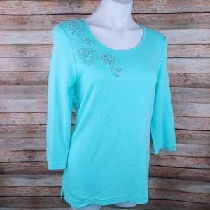 Quacker factory teal heart embellished top XS